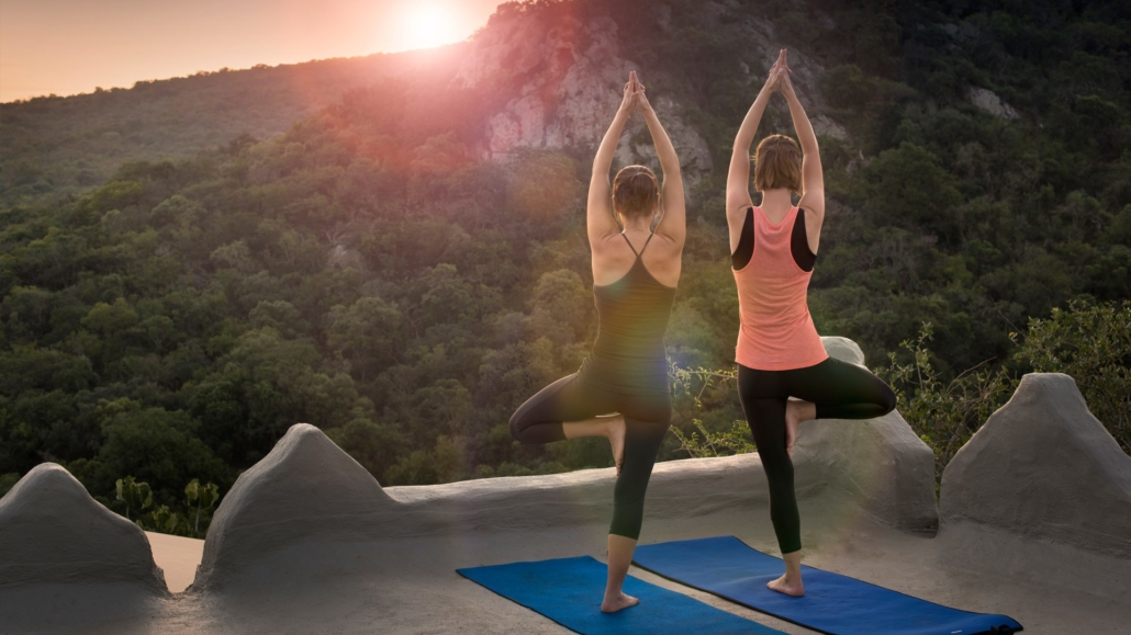 yoga, rock lodge, rooftop deck, Phinda, summer safari