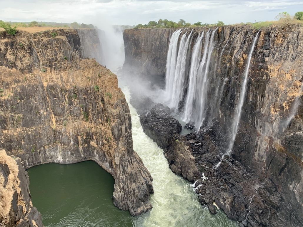 A view of the Falls from the Zambian side looking westwards towards the biggest spray.